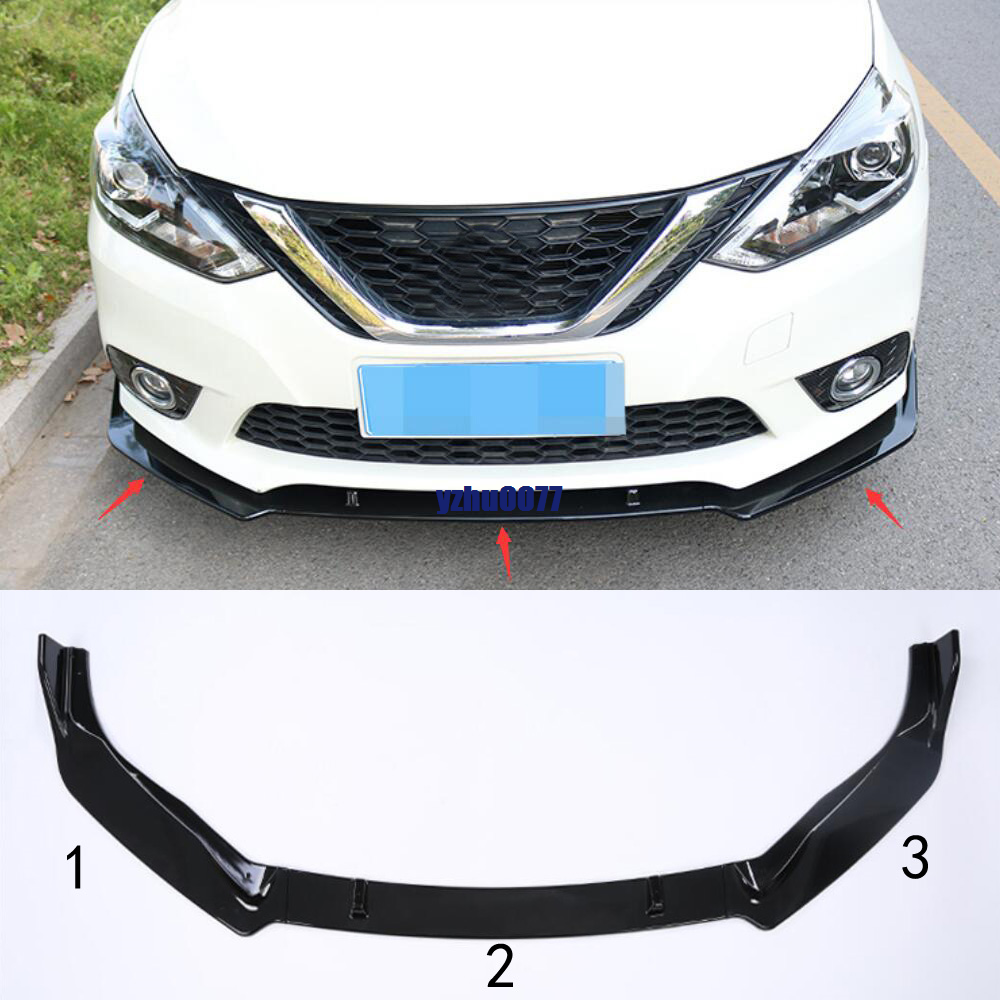2016-2019 For Nissan Sentra ABS Bright Black Front Bumper