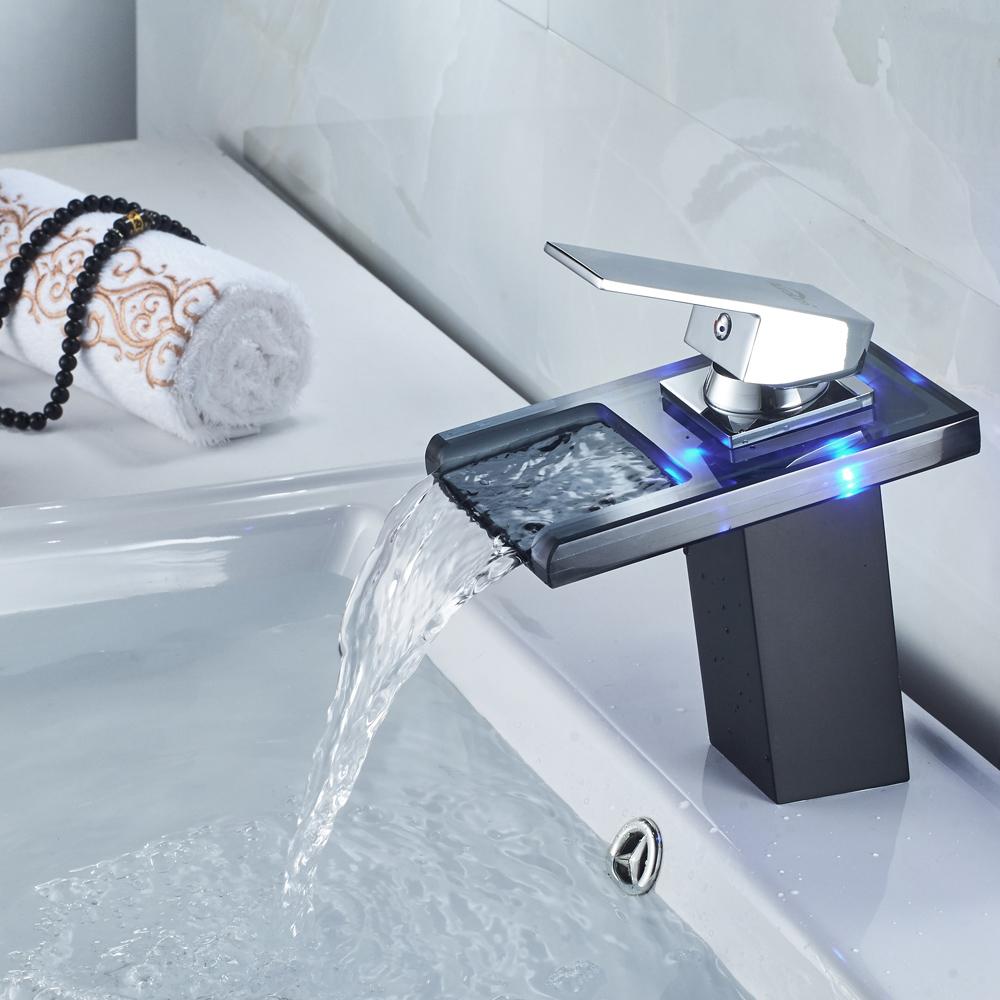 Glas Waschtischarmatur Wasserfall Wasserhahn Badarmatur Waschbecken Armatur