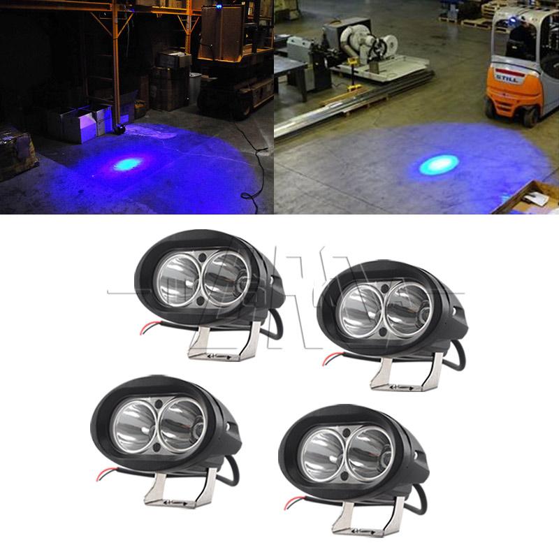 10Pcs Blue Forklift LED Light Warehouse Safety Warning Lamp Offroad Race 10w US