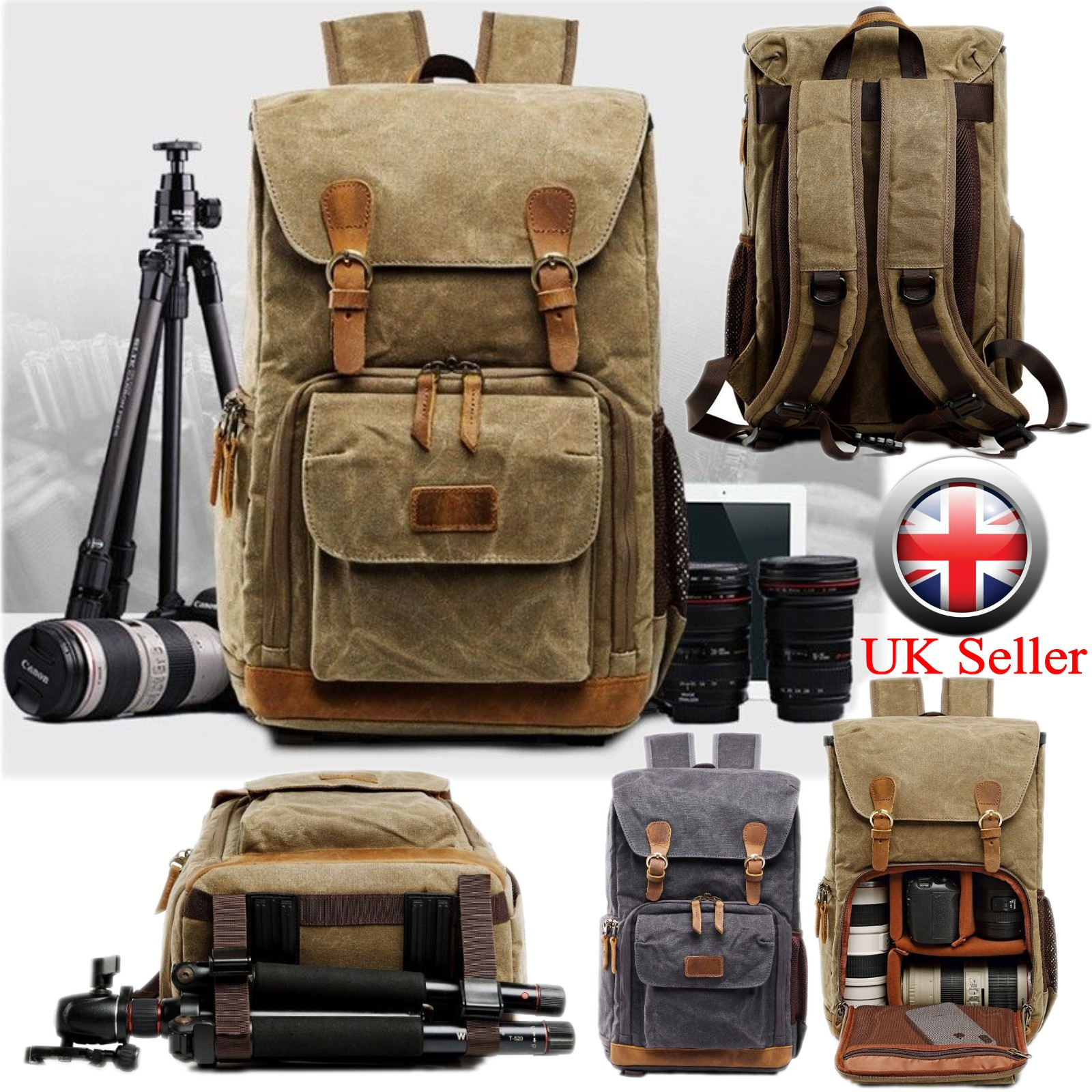 Computer Backpack DSLR Cameras Canvas Camera by with Rain Cover for Cameras Compatible Backpack Color : Army Green