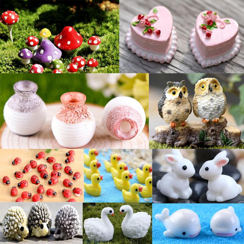 20pcs Miniature Dollhouse Bonsai Garden Landscape Decor Swan and Rabbit Type