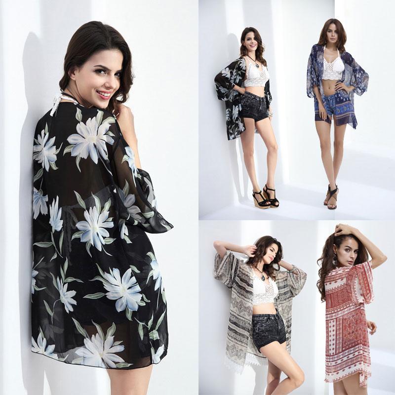 53fc248a2a7d8 Details about Women Chiffon Kimono Beach Cardigan Bikini Cover Up Wrap  Beachwear Floral Tops