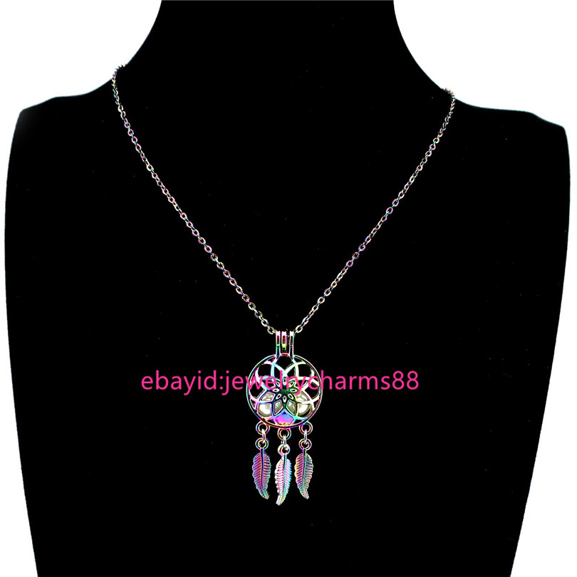 K1067 Silver Bowknot Round Star Beads Cage Locket Pendant Necklace