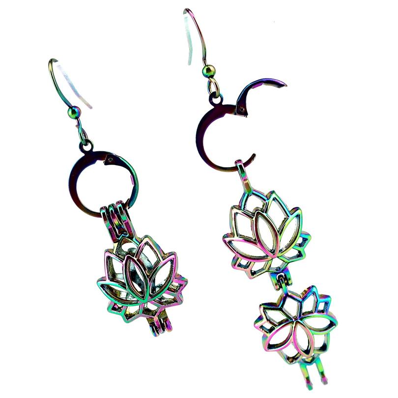 Rainbow Color Lotus Perle Cage Boucles d/'oreilles crochets avec 8 Mm Plastique Perles//Z52
