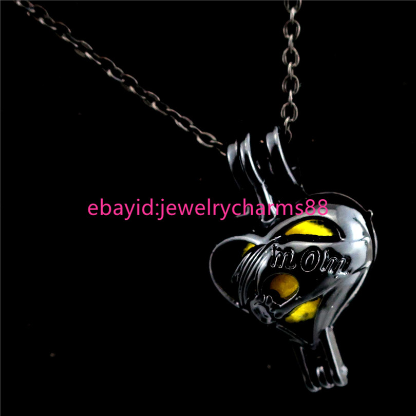 """H560 Black Kid and Mom Hand Pearl Beads Cage Necklace 18/"""" New Mom Gift"""