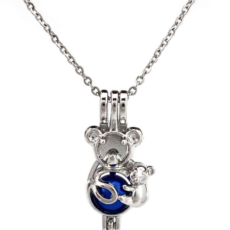 K666 Mermaid Pearl Rock Cage Pendant  Aromatherapy Locket Lady Necklace