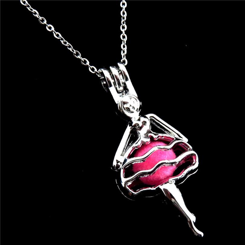 "K541 Silver Alloy Ballerina Ballet Girl Necklace Beads Cage Locket Pendant 18/"""
