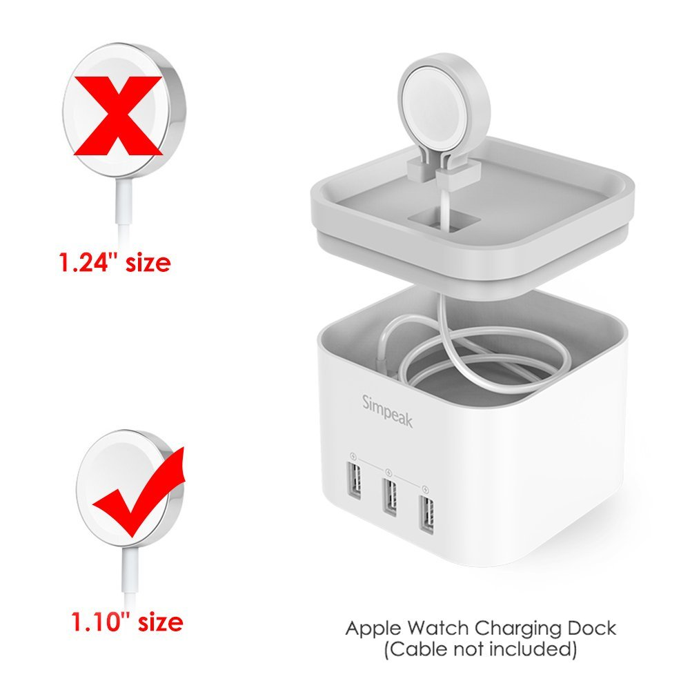 White 4 Port Usb Charger Stand For Apple Watch 123 Nightstand