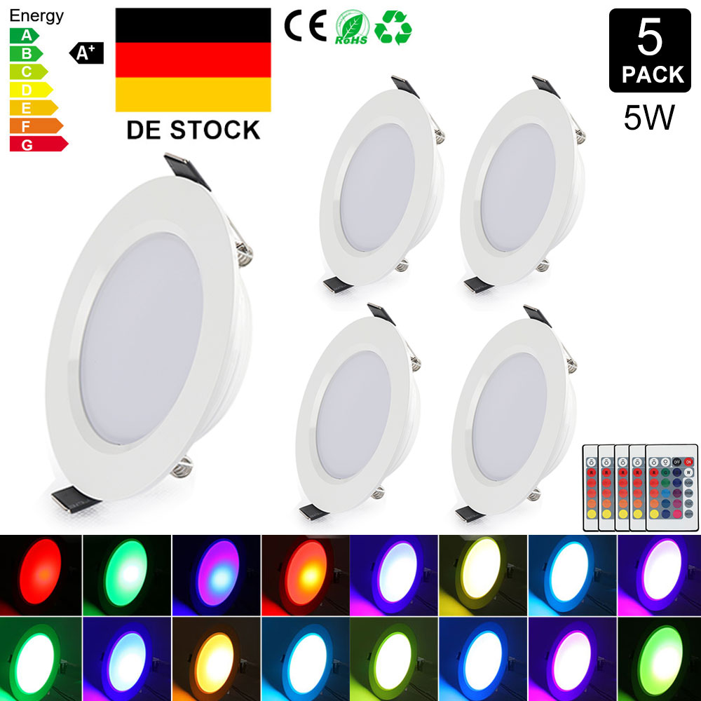 5pcs dimmbar 5w rgb led panel einbaustrahler deckenleuchte mit fernbedienung de ebay. Black Bedroom Furniture Sets. Home Design Ideas