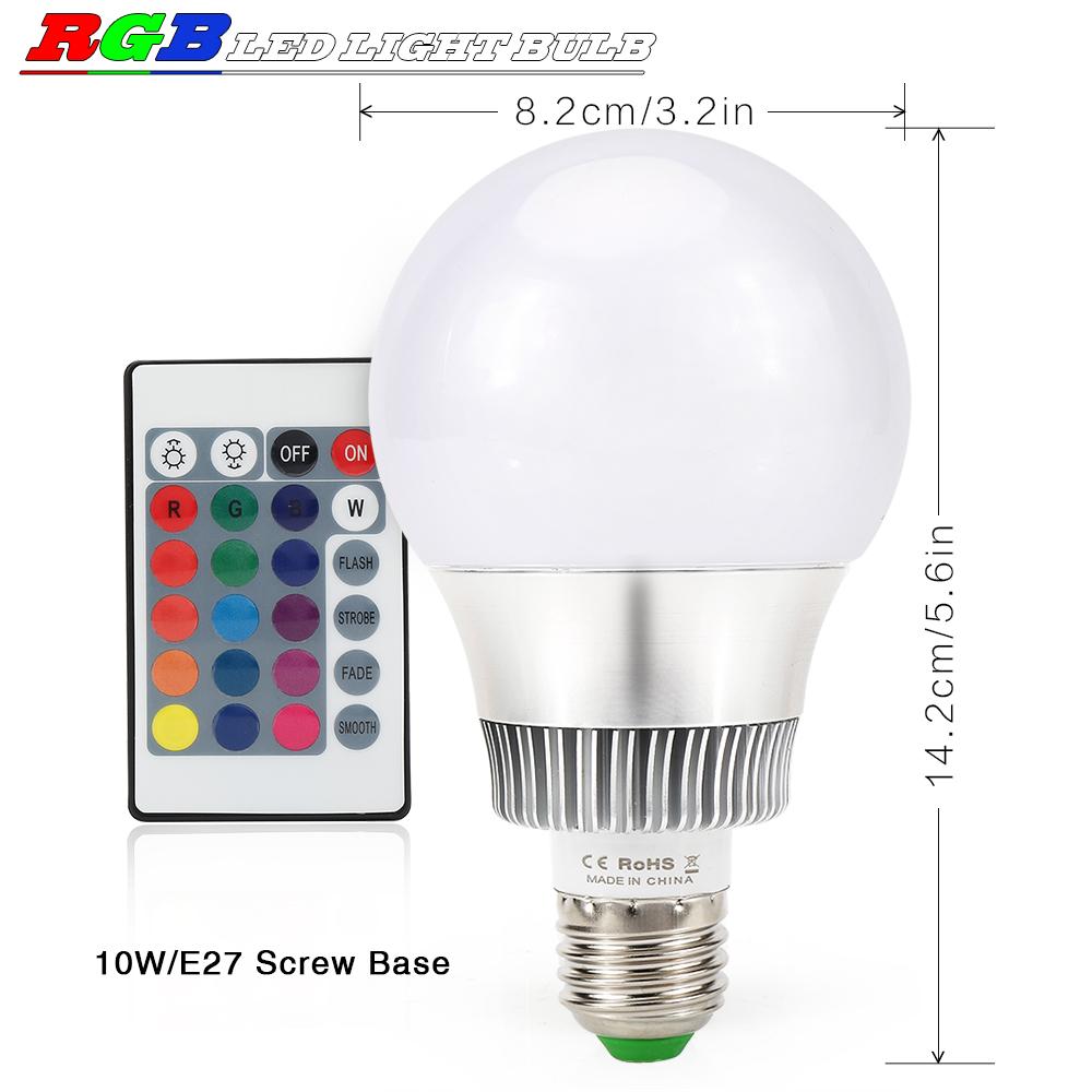 10w e27 rgb bunte led birne farbwechsel lampe gl hbirne licht mit fernbedienung ebay. Black Bedroom Furniture Sets. Home Design Ideas