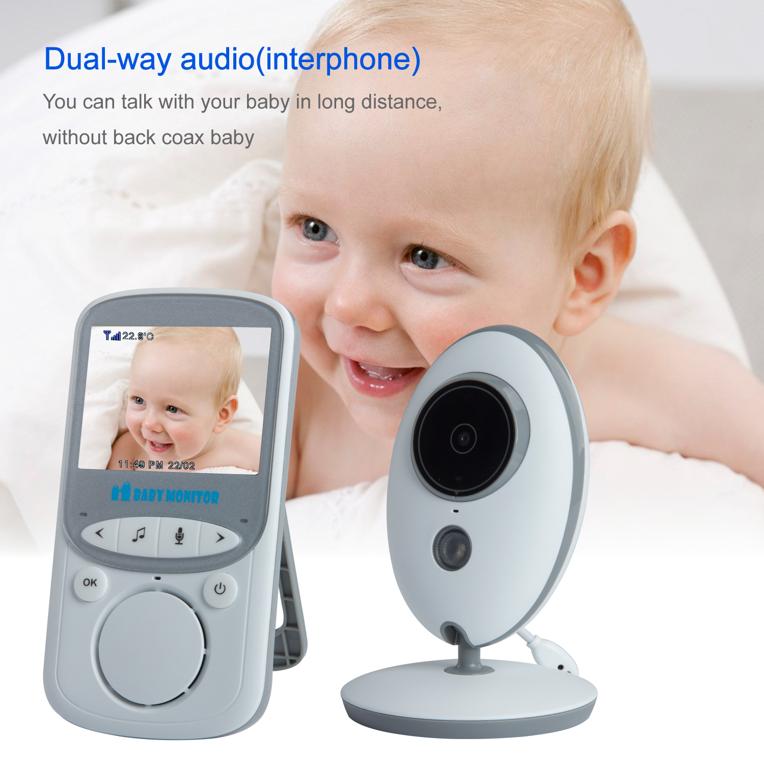 Two Way Audio Monitor : New quot baby monitor ghz lcd audio way talk night
