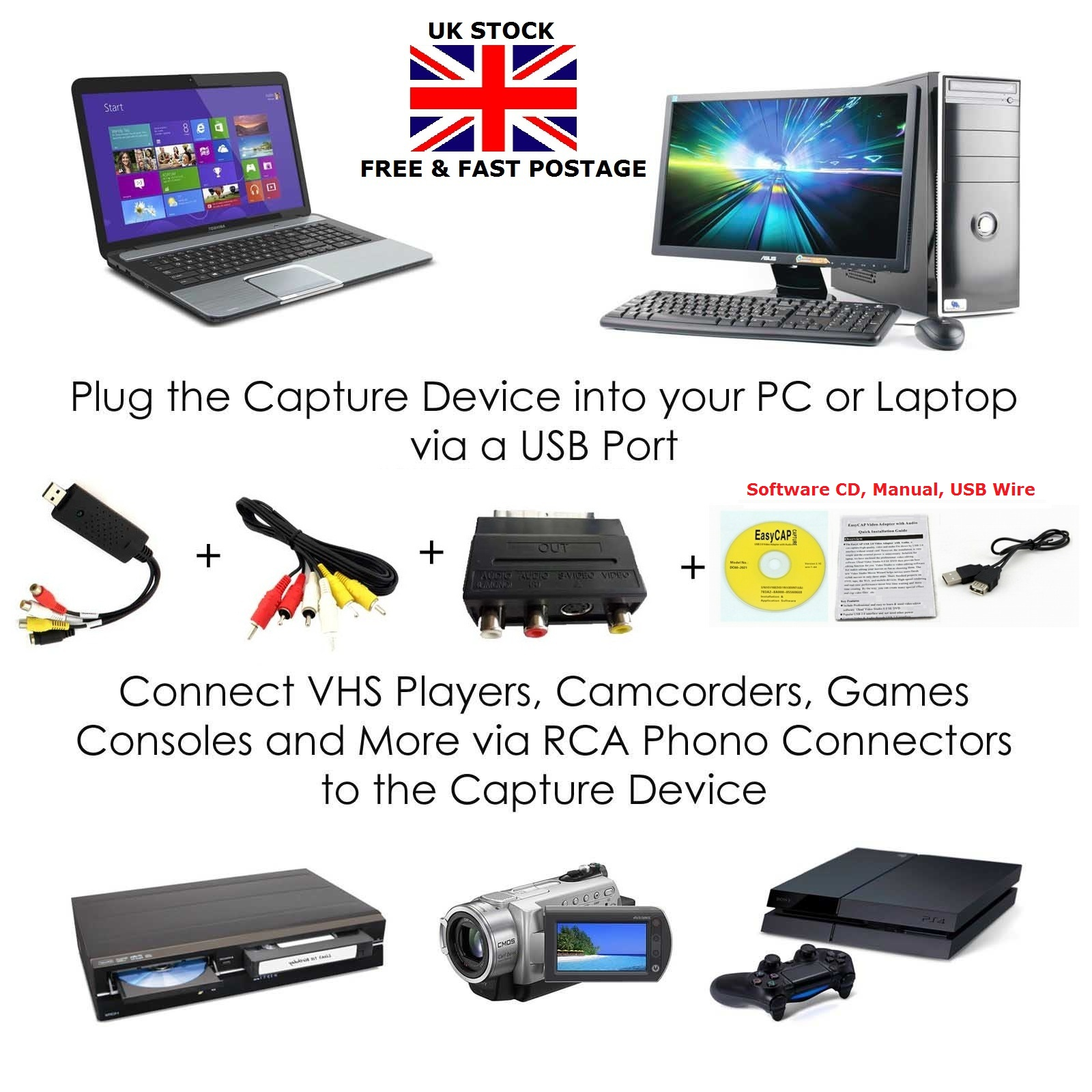 Details about UK USB VHS To DVD Audio Video Converter Adapter Full Scart  Capture RCA Cable Kit