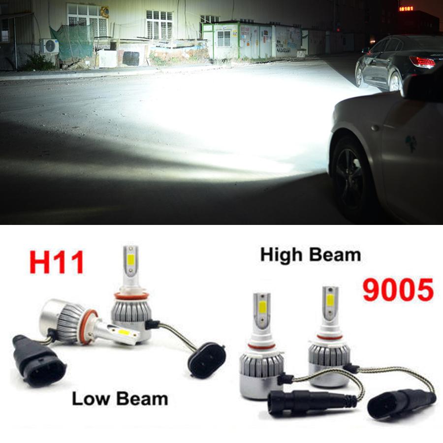 4PCS 9005 H11 LED Total 3000W Combo Headlight Kit Bulbs 6000K White Hi-Lo Beam
