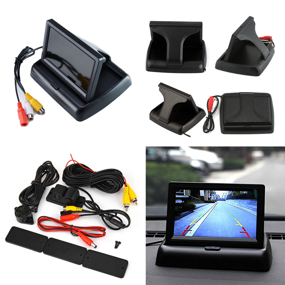 """4.3/""""Foldable Color Car Reverse Monitor /& Waterproof Rotatable CCD Parking Camera"""