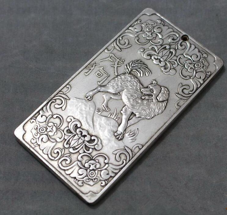 Chinese tibet Silver Bullion thanka Fengshui 八卦八仙图 statue amulet Waist tag