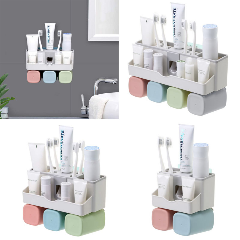 Toothbrush Holder Wall Mount Storage Organizer With Toothpaste Dispenser And Cup Ebay