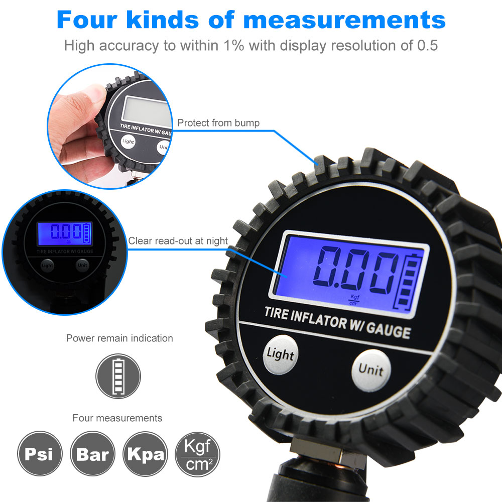 0~200PSI LCD Digital Tire Pressure Air Gauge with Tyre Valve and Caps Tire Pressure Measurement for Cars Trucks