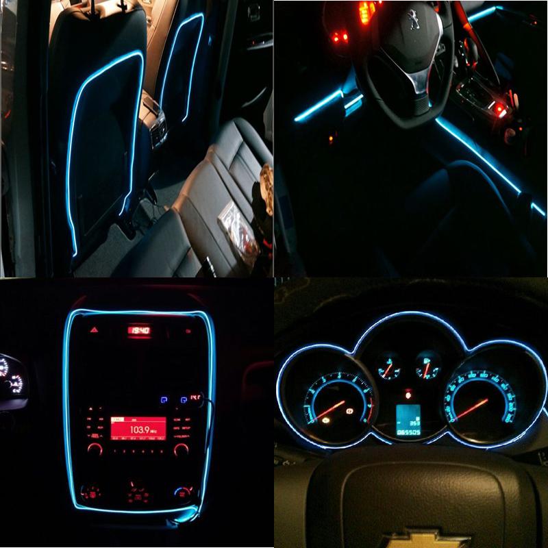 3M Orange 12V EL Wire Cold Light Interior Decor Neon Lamp Car ...