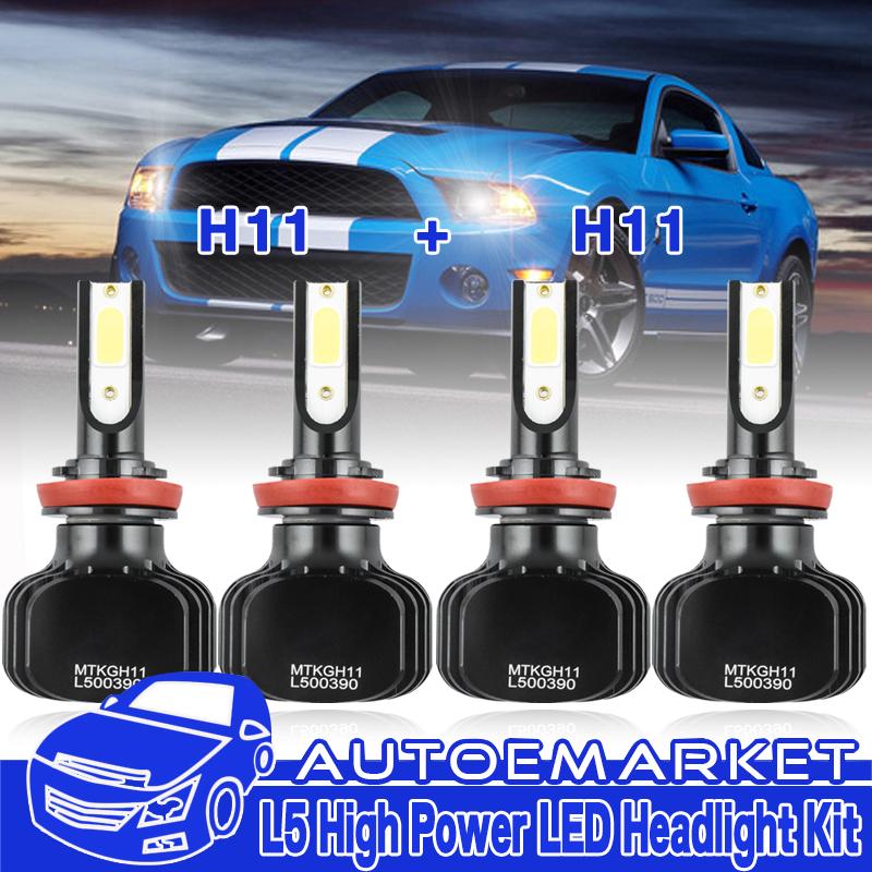 H11+H11 LED Headlight Hi/Low Beam Fog Bulb 6000K For