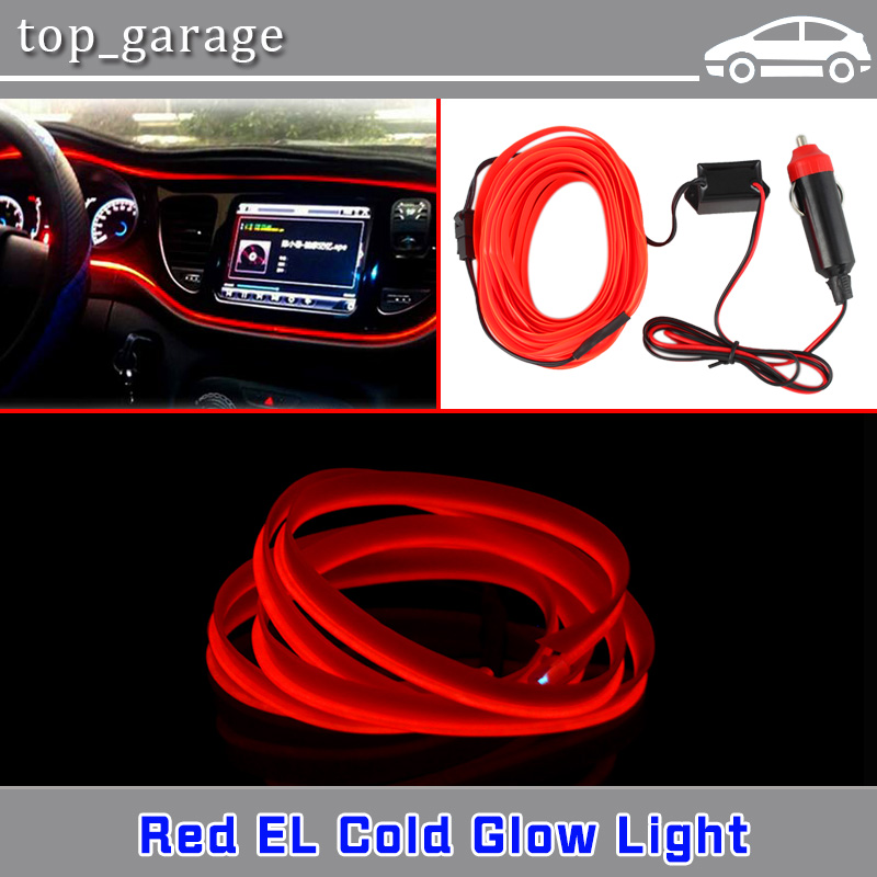 Flexible Neon Light 2M Glow EL Wire Red LED Strip Tube Car Interior ...