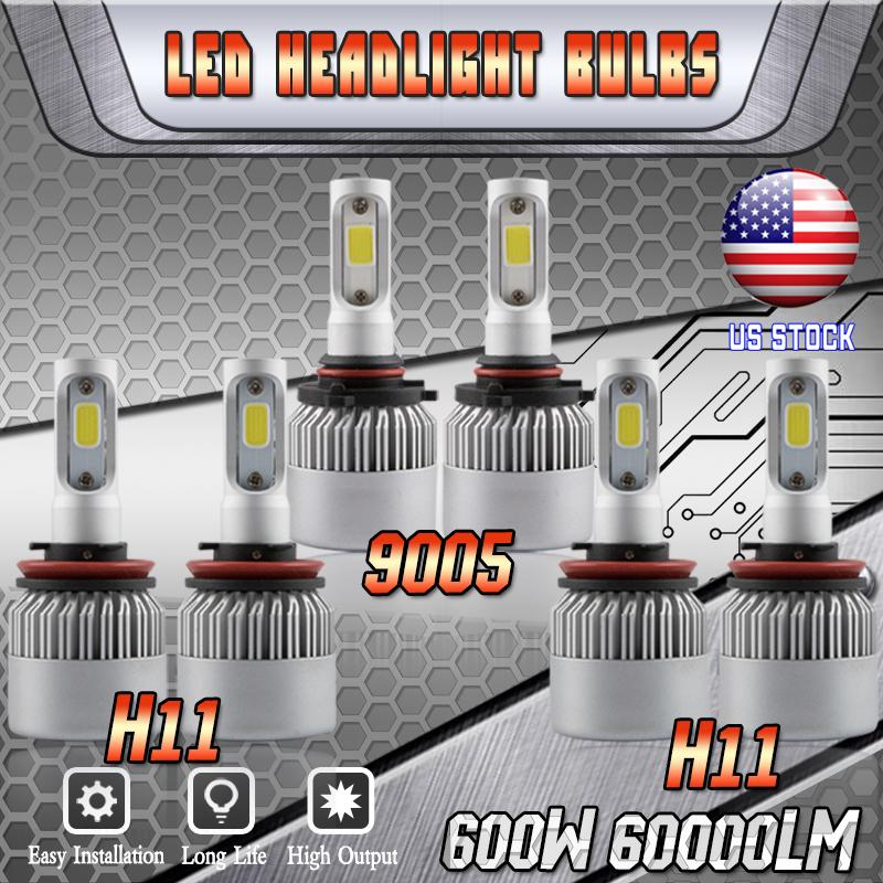 Combo 9005+H11+H11 CREE LED Headlight Kits 6000K Bulbs FOR 2011-17 Toyota Sienna