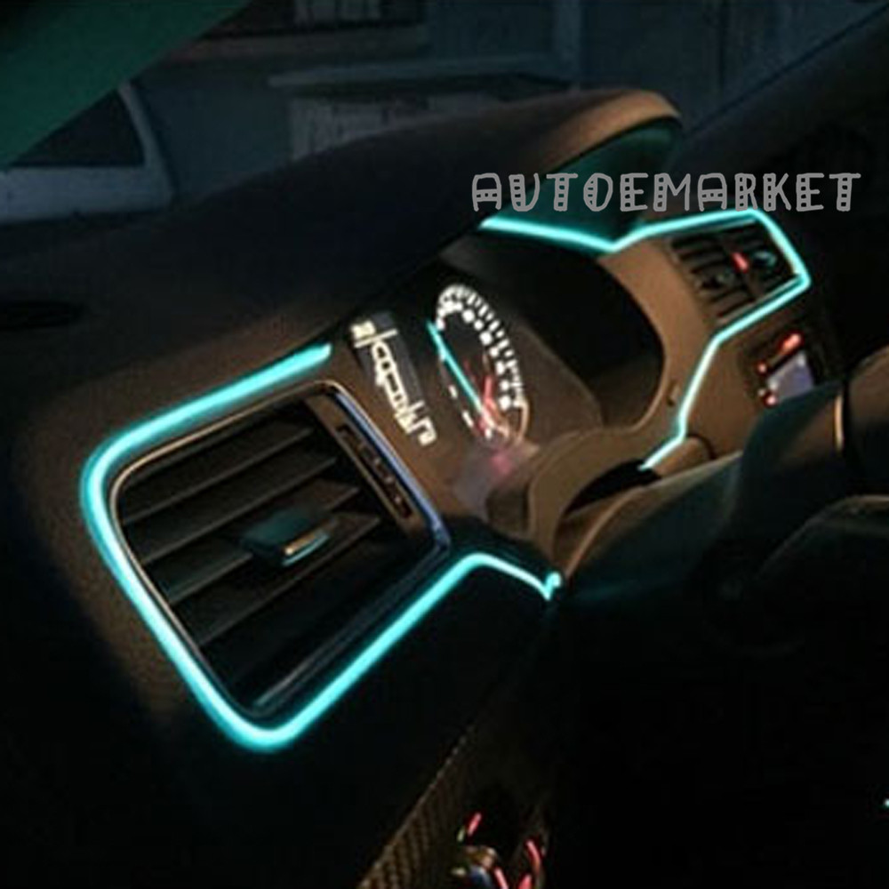 5M ICE BLUE LED EL-Wire Car Interior Lamp Decor Strip Neon Cold ...