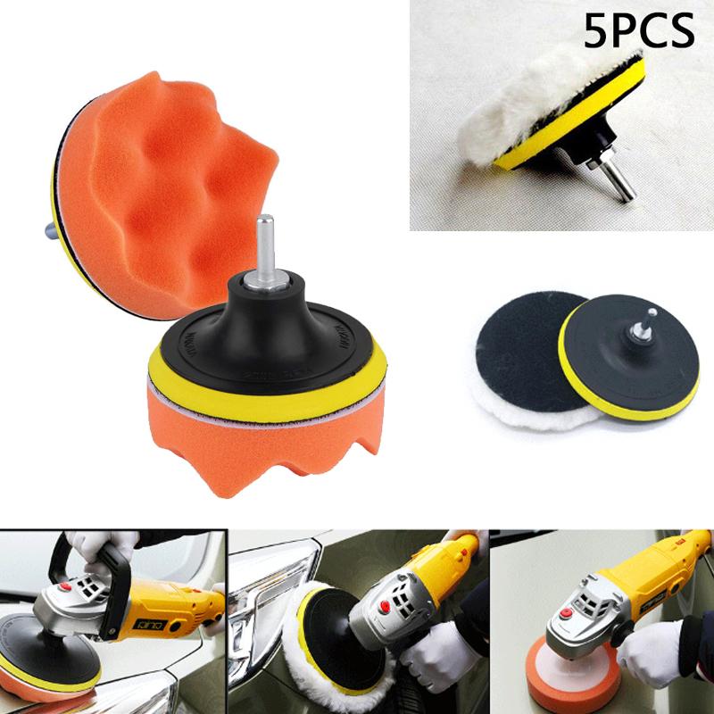 5pcs Car Polisher Gross Polishing Buffer Buffing Pad Kit Set Drill Adapter Tool