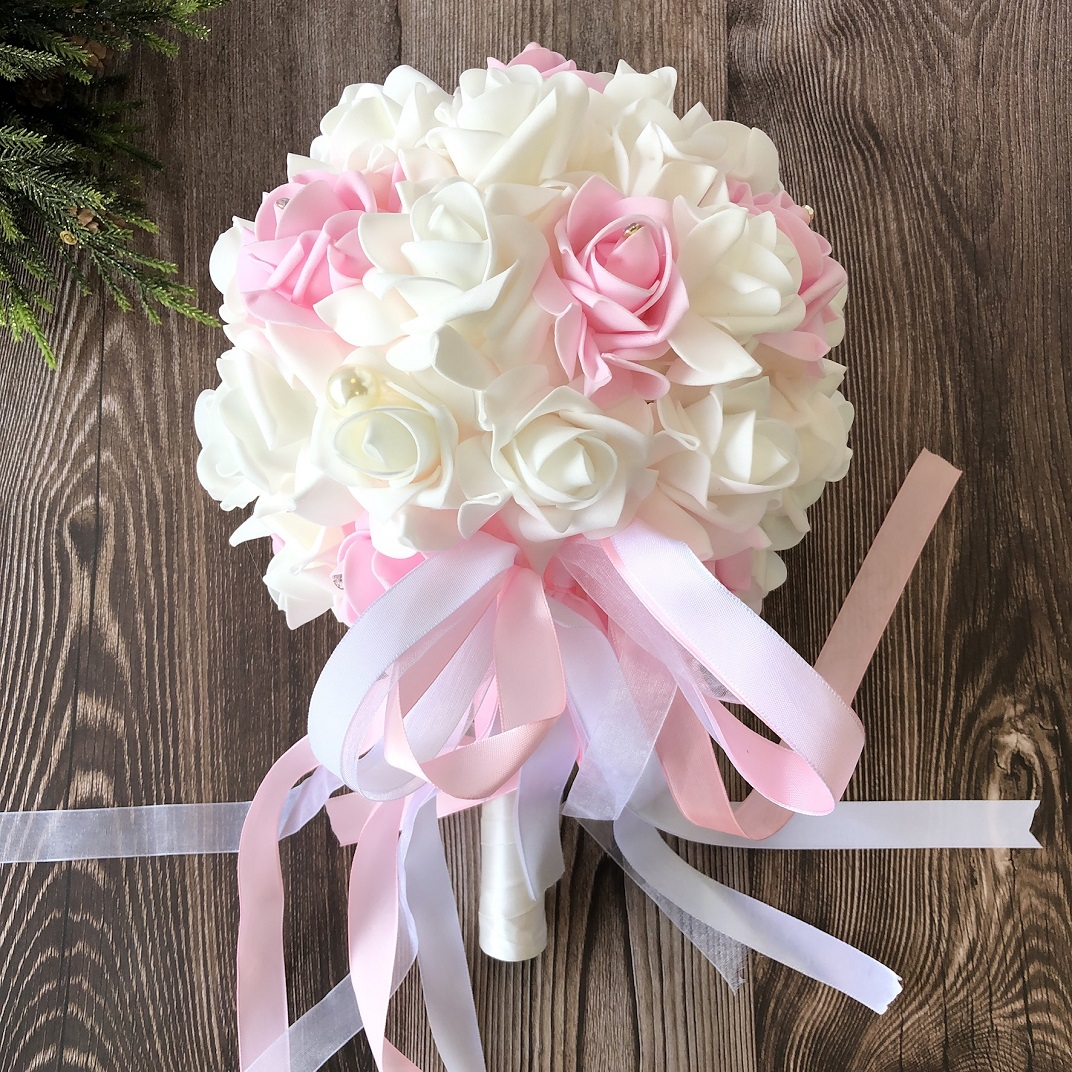 White Pink Rose Bridesmaid Bouquet Wedding Bridal Tossing Flower