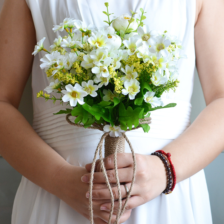 Wild Flowers For Weddings: Wedding Bouquet White Little Daisy Peony Artificial Bride