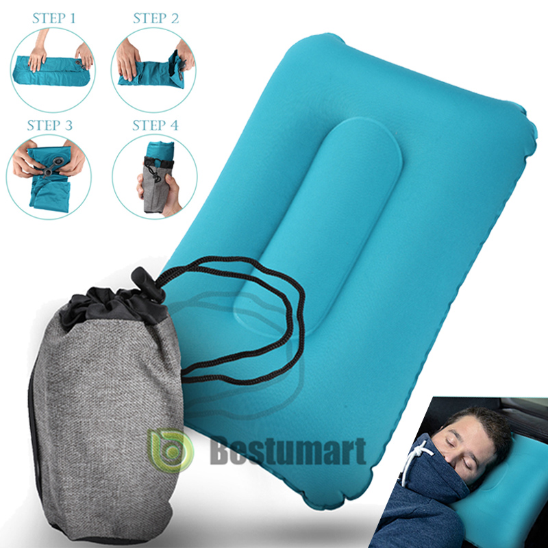 Inflatable Pillow Travel Sleep Cushion Camping Neck Head Rest Support Office Nap