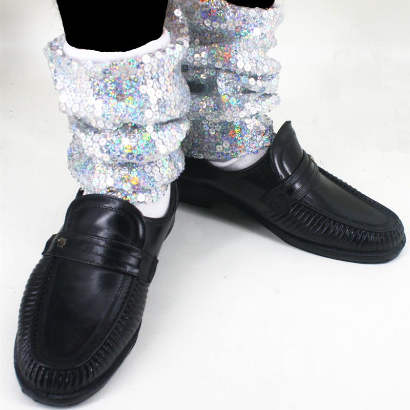 Rare Fashion Sequin MJ Micheal Jackson Billie Jean Baggy Ankle Socks handmade 100% For Collection Show