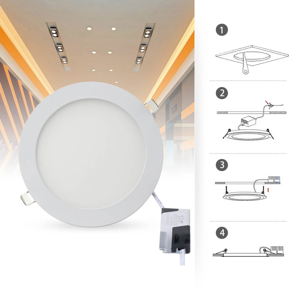 Dimmable 6w 21w Ultra Slim Led Panel Recessed Spotlights Ceiling
