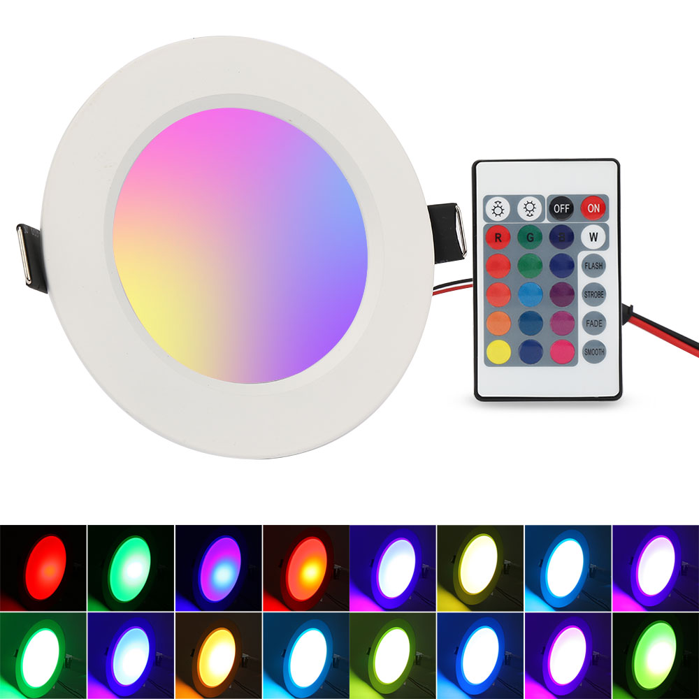 5w 10w Dimmable Multicolor Rgb Led Recessed Ceiling Light Panel Downlight Lamp Ebay