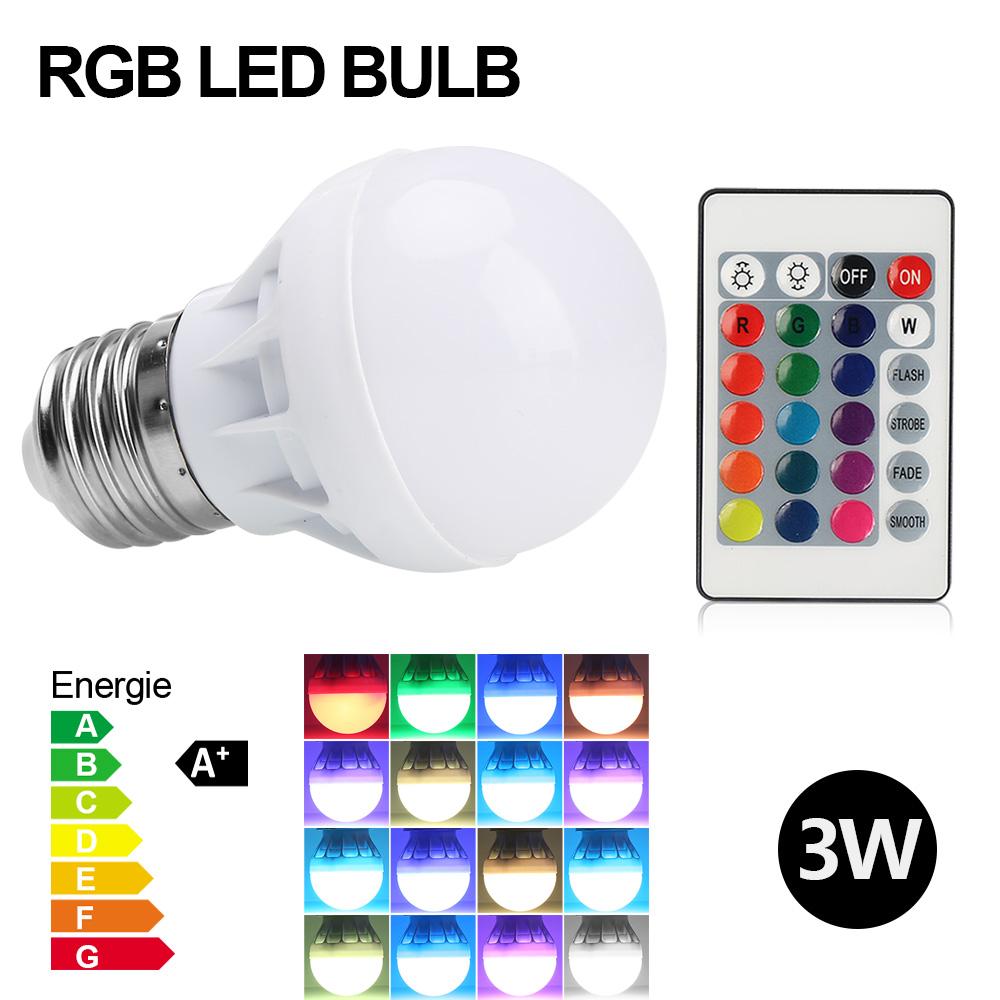 8pcs e27 3w rgb bunte led birne farbwechsel lampe glhbirne lichtfernbedienung - Bunte Led Lampen