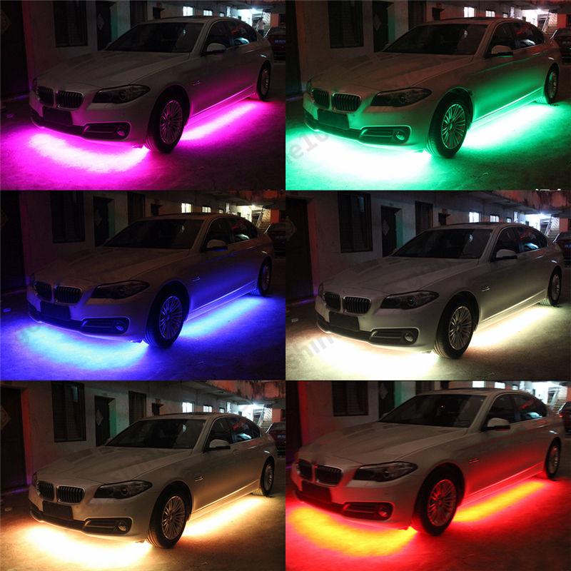 Wireless control 7 color RGB car undercar lights kit. Remote Phone App Music Control Colorful Decorative light including 4 pieces Interior lights & 4x RGB LED Under Car Tube Strip Underbody Neon Light Phone App ... azcodes.com