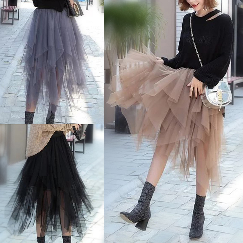 Fashion Women Tulle Tutu Skirt Elastic Waist Asymmetric Mesh Girl Midi Pleated Skirts