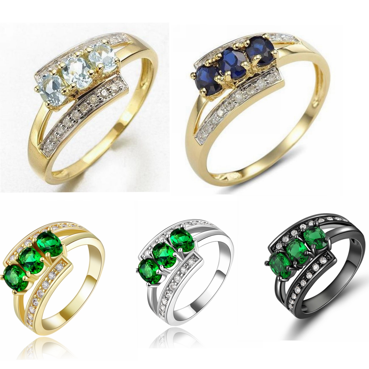 Size 6 9 Luxury Rings For Womens Gold Filled Cz Engagement Wedding