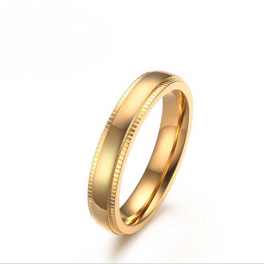 Mens Womens Band Size 6-11 Gold Stainless Steel Wedding Engagement ...