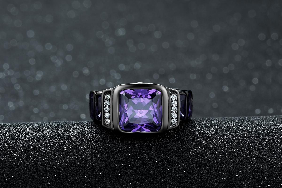 Jewelry Size 7-11 Mens Amethyst Black Gold Filled Engagemet Wedding Ring Gift