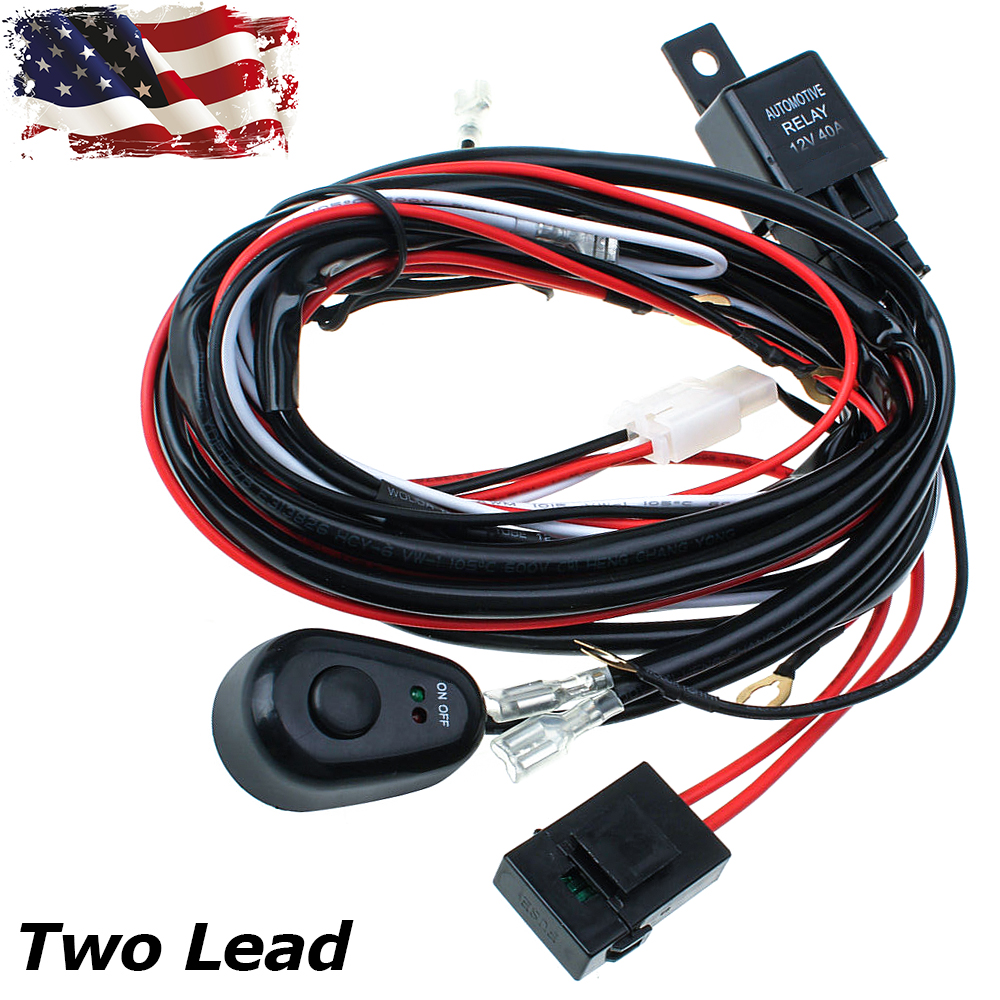 Details about 12V 40A Wiring Harness Kit Fuse&Relay Rocker Switch LED on