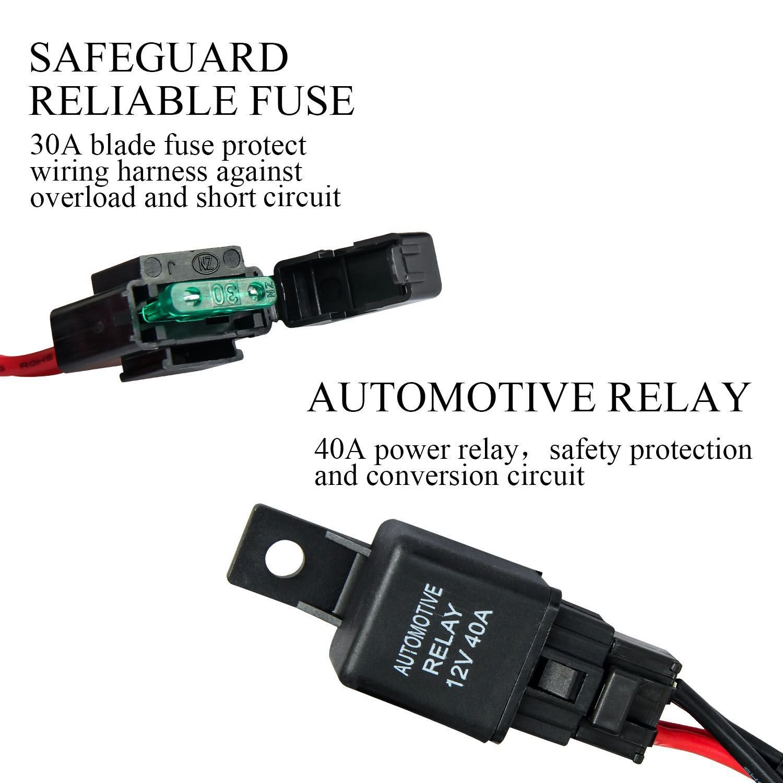 12v Wiring Harness Led Light Bar 40amp Relay Fuse On Off Rocker 40 Amp Kit Switch Suv Atv