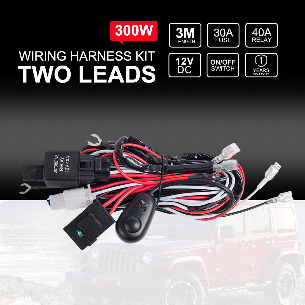 details about car wiring loom harness kit relay rocker switch 40a led work  driving light bar