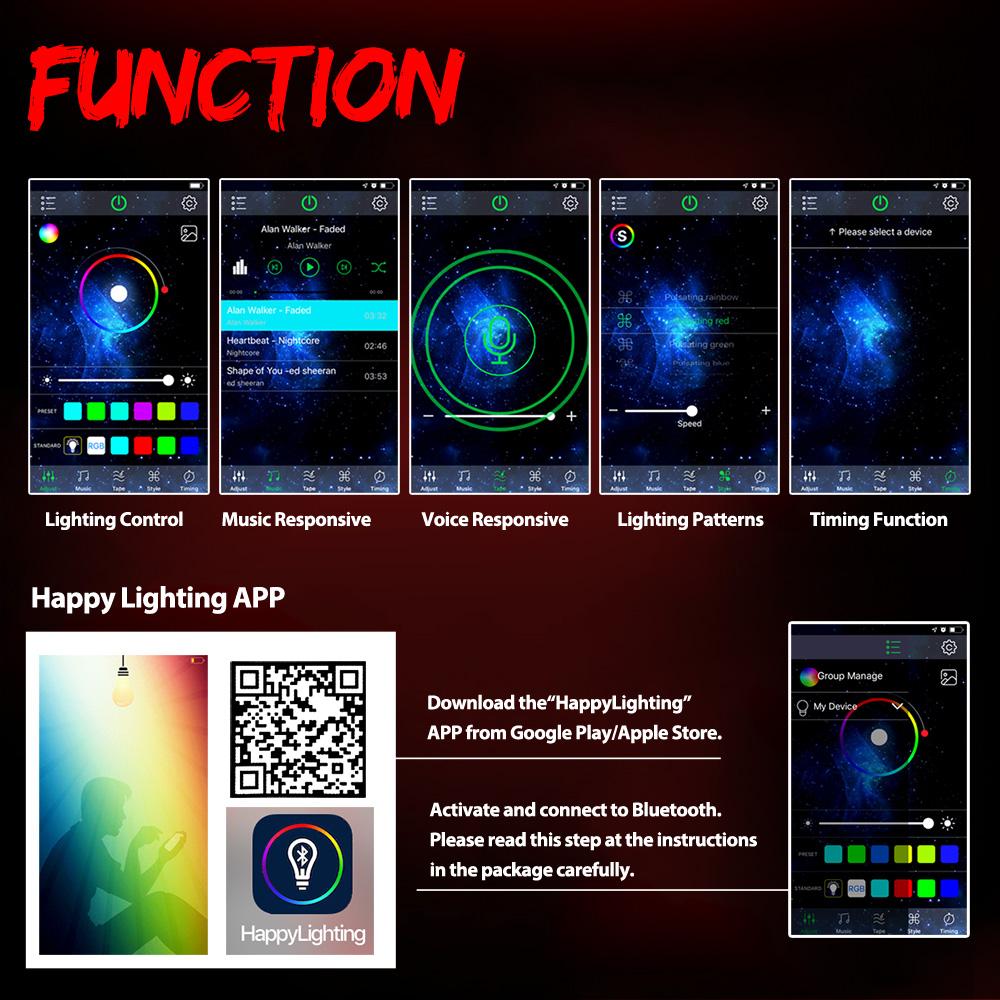 2x Bluetooth 4ft Dream Color Rgb Led Whip Light Chasing Brake W Flag For Atv Utv Ebay