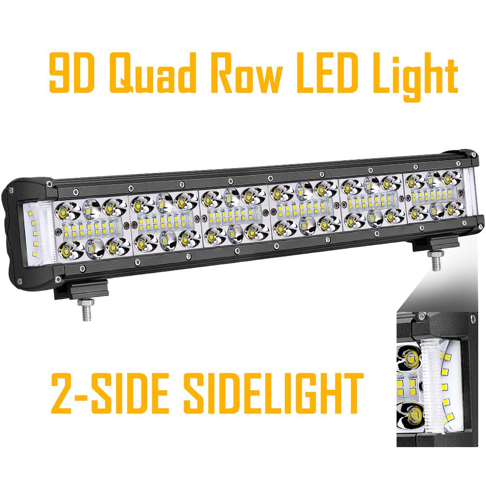 "Quad Row LED Work Light Bar 7/"" 580W Cree Side Shooter 6000K Combo Beam Driving"