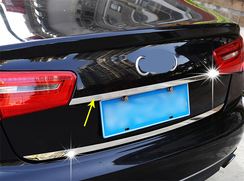 Steel Rear Trunk Lid Decorative Cover Trim for Audi A6 C7 2012 2013 2014 2015