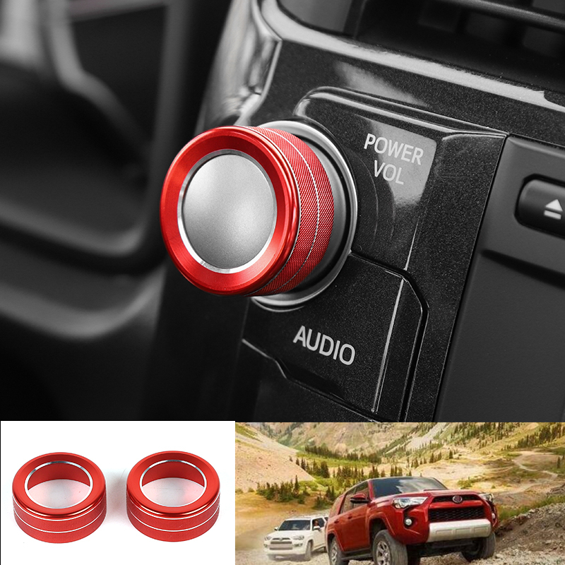 For Toyota 4Runner 2010 Red Audio Switch Knob Button Cover Ring Trim Decor 2pcs