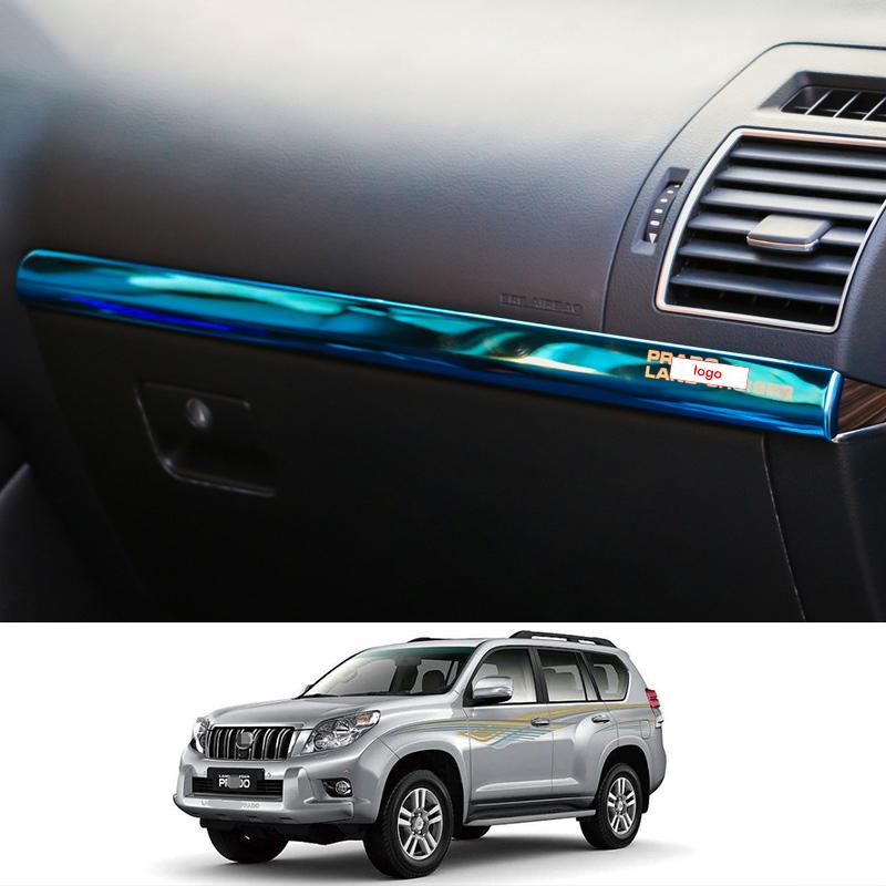 Black titanium Inner Door Decorative Strip Trim For Toyota Prado FJ150 2010-2019