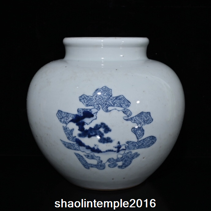 Old China antique Qing Dynasty Blue and white Double Happiness word pot