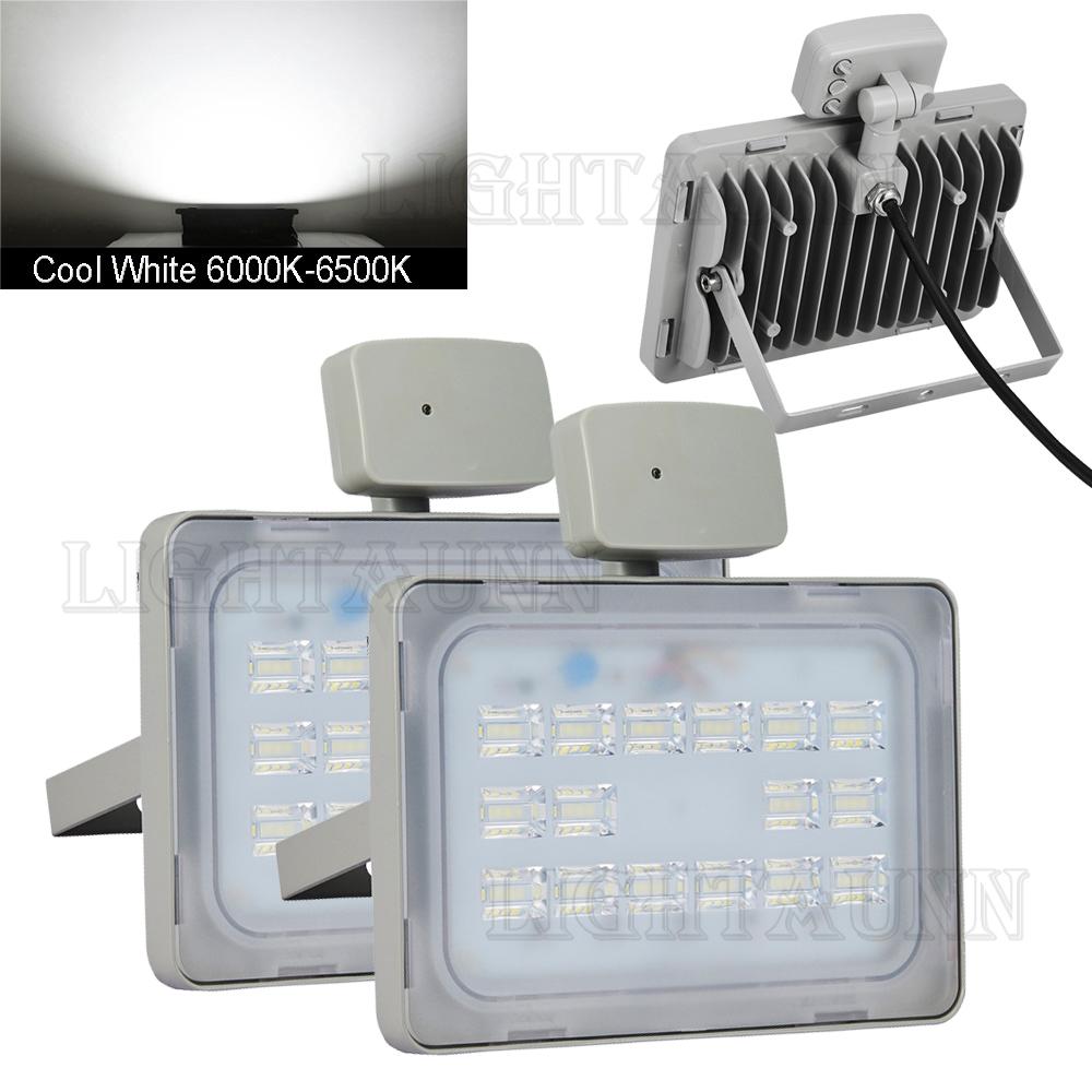 2x 50W PIR Motion Sensor LED Flood Light Cool White Outdoor Spot Garden Lamp