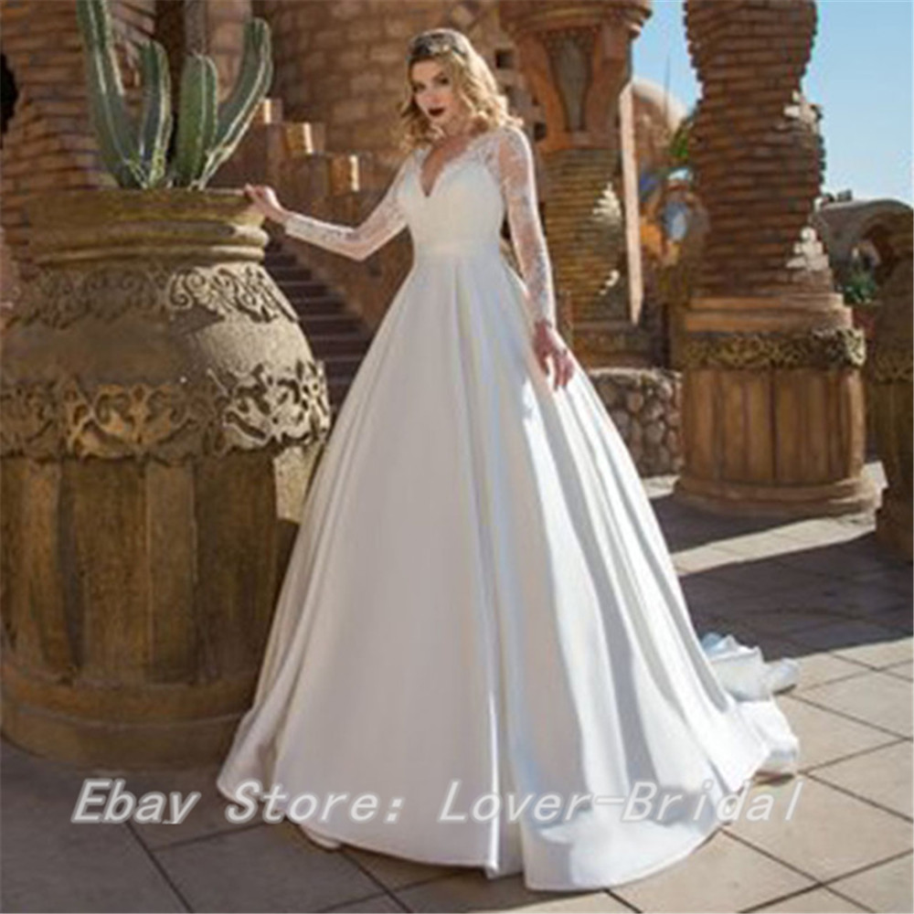 Details about Plus Size Lace Wedding Dresses Long Sleeve V Neck Satin Skirt  Wedding Gown
